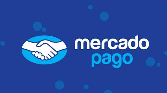 Logotipo Mercado Pago Flutuante em fundo azul com bolhas